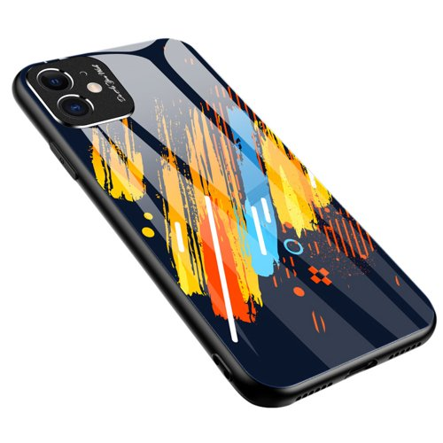 Color Glass Case Durable Cover with Tempered Glass Back and camera cover iPhone 11 pattern 5