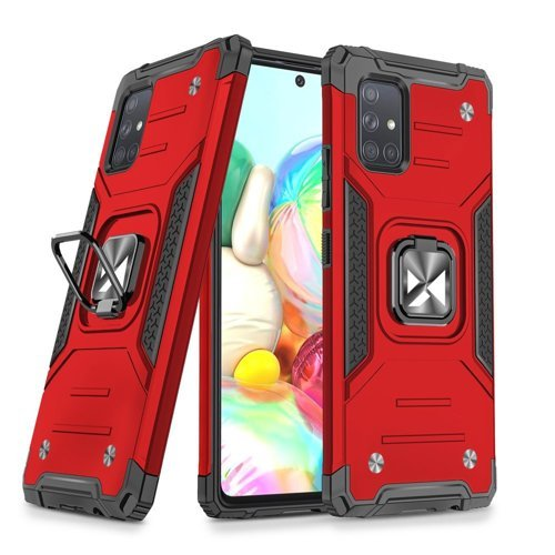 Wozinsky Ring Armor Case Kickstand Tough Rugged Cover for Samsung Galaxy A51 red