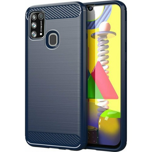 Hurtel Carbon Back Cover Silicone Blue (Galaxy M21)