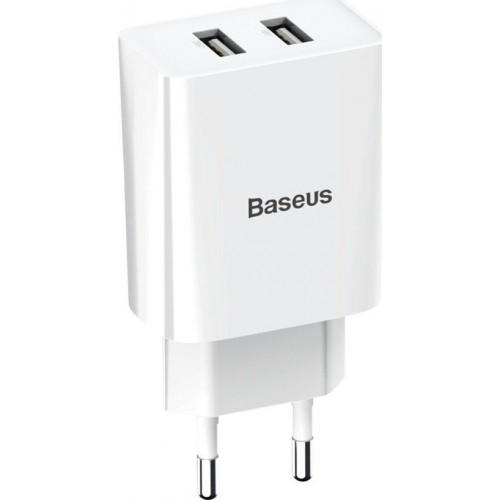 Baseus 2x USB Wall Adapter Λευκό (CCFS-R02)