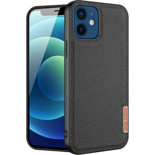 Dux Ducis Fino Back Cover Silicone / Black Fabric Black (iPhone 12 mini)