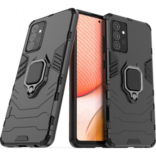 Hurtel Ring Armor Back Cover Πλαστικό / Σιλικόνης Μαύρο (Galaxy A72 4G / 5G)