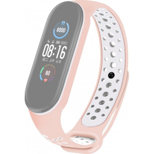 Silicone Strap Two Tone Breathable Light Pink / White (Mi Band 5/6)