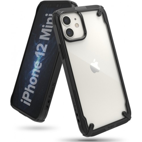 Ringke Fusion X Back Cover Πλαστικό / Bumper Σιλικόνης Διάφανο / Μαύρο (iPhone 12 mini)