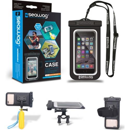 "Seawag αδιάβροχη θήκη για smartphone WITH floating selfie stick, Bike mount and Armband BLACK για κινητά έως 6,7"""