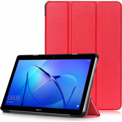 """Trifold Θήκη Βιβλίο με Σιλικόνη Flip Cover Για Samsung Galaxy Tab A7 (2020) 10.4"""" Κόκκινη"""