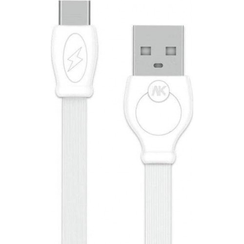 WK Flat USB 2.0 Cable USB-C male - USB-A male White 1m (WDC-023)