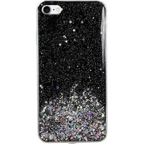 Wozinsky Star Glitter Back Cover Σιλικόνης Μαύρο (iPhone SE 2020/8/7)
