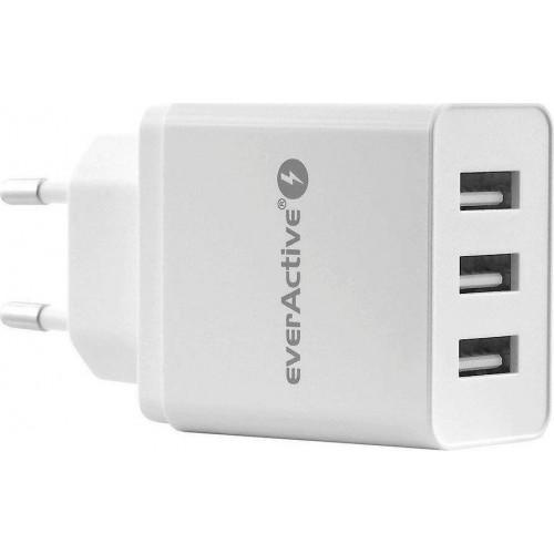 everActive 3x USB Wall Adapter Λευκό (SC-300)