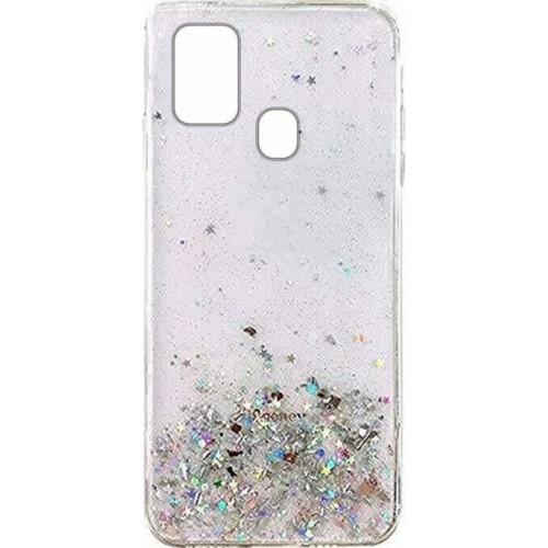 Wozinsky Star Glitter Back Cover Transparent Silicone (Galaxy M21)