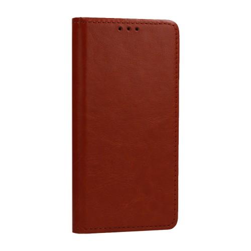 Θήκη Βιβλίο Genuine Italian Leather Case Για Samsung Galaxy S21 Ultra 5G Καφέ
