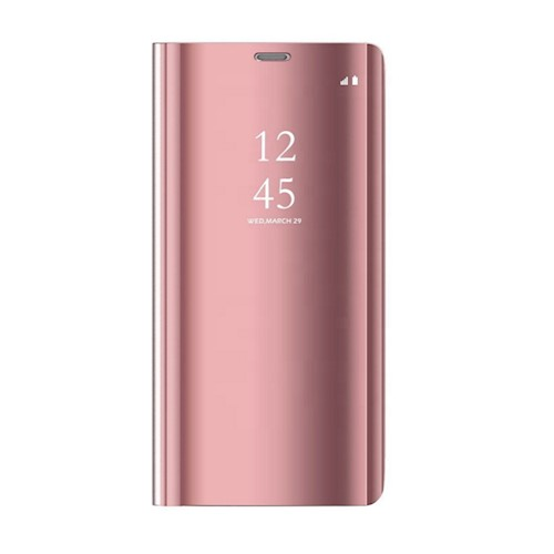 Oem Θήκη Clear View Cover Για Huawei Y5P 2020 Χρυσή-Ροζ