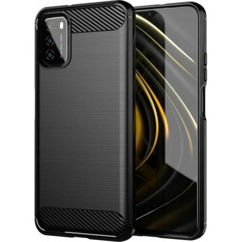 Oem Θήκη Σιλικόνης Carbon Για Xiaomi Redmi 9T / Poco M3 / 9 Power / Note 9 4G Μαύρο